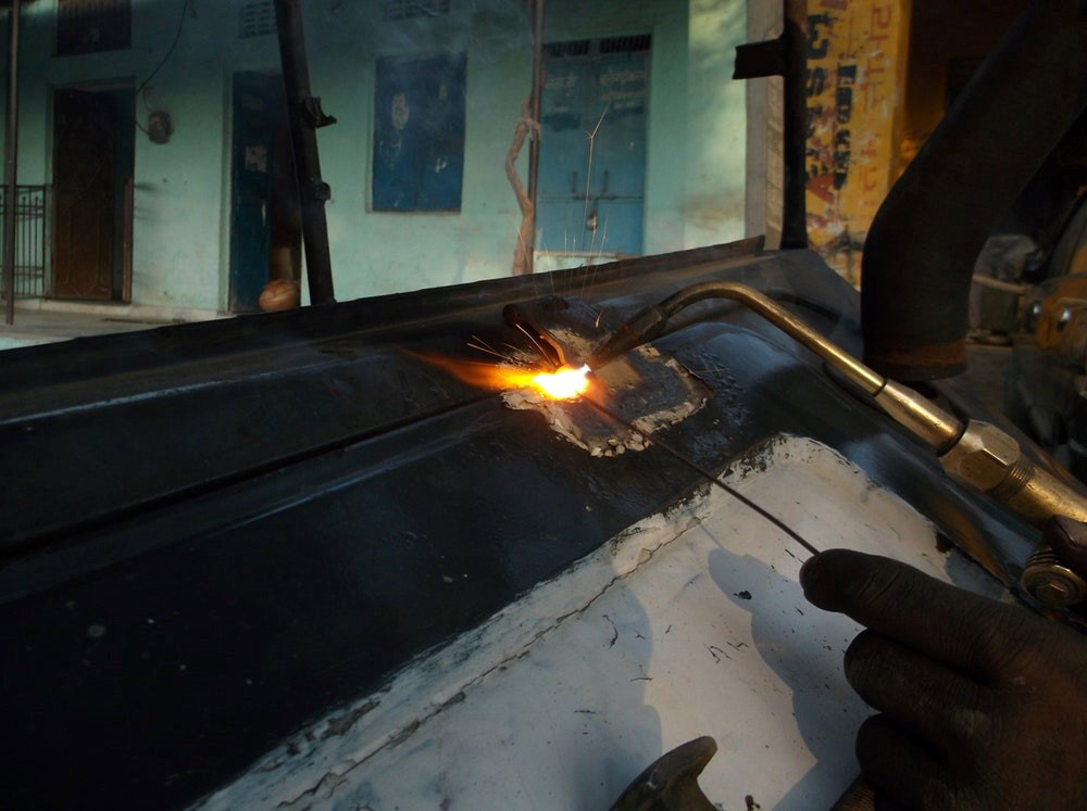 Close up of metal being welded together