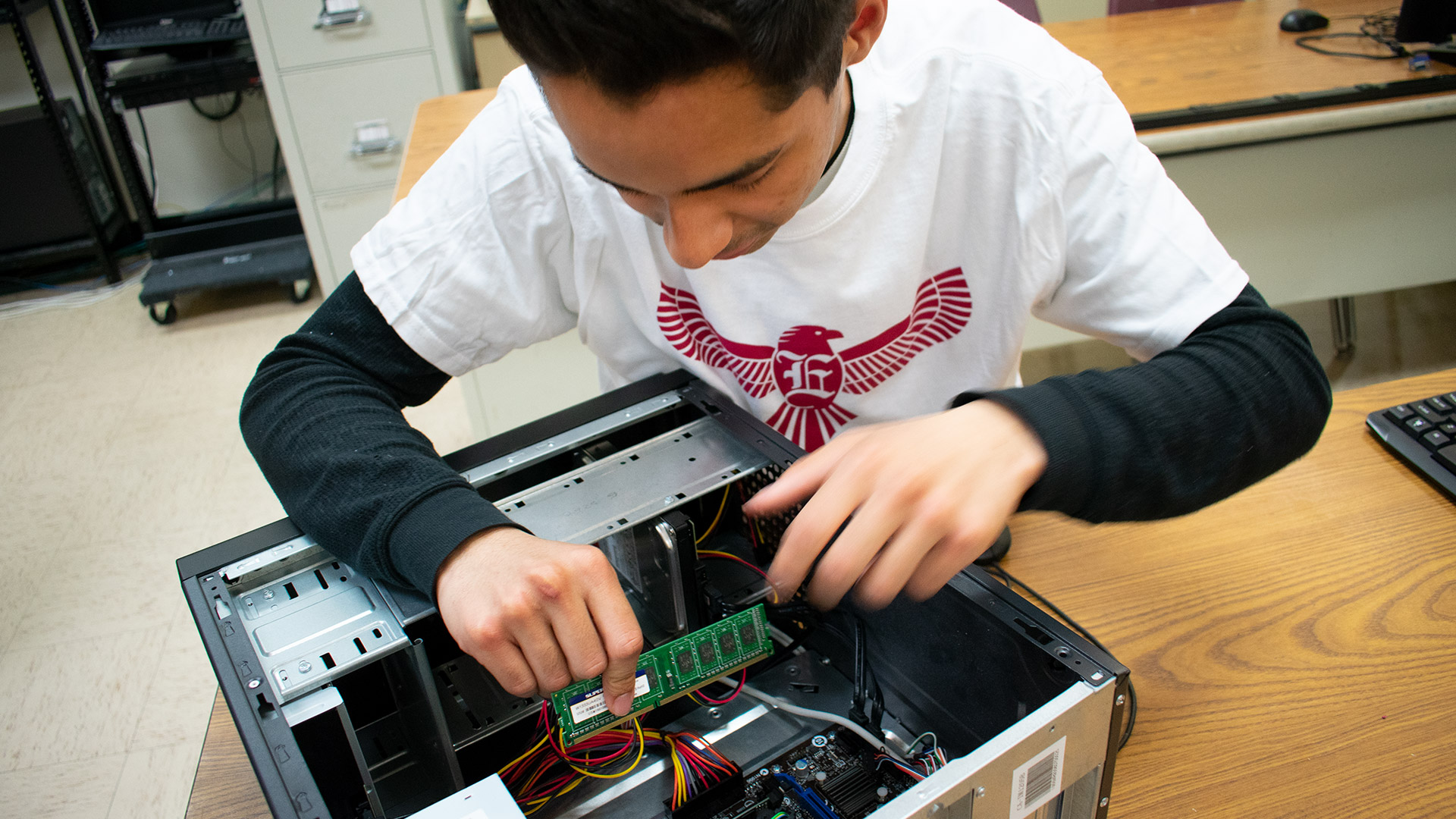 IT student students circuit inside computer