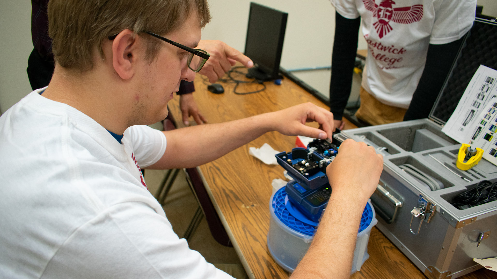 IT student practices wiring device